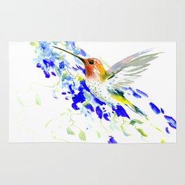 Hummingbird and Blue Flowers Rug