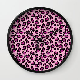 Leopard-Pink+Black+Purple Wall Clock