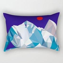 Snowy mountain, red sun Rectangular Pillow