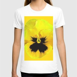 LARGE YELLOW  PANSY ON GOLDEN YELLOW COLOR T-shirt