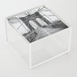 Brooklyn Bridge, New York City (rustic black & white) Acrylic Box