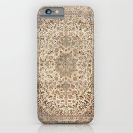 Isfahan Central Persia Old Century Authentic Colorful Dusty Blue Tan Distressed Vintage Patterns iPhone Case
