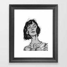 Woman in stripped shirt Framed Art Print