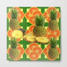PINEAPPLES & ORANGE FRUIT SLICES  GREEN DESIGN Metal Print