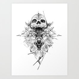 Wolf And Skull Art Print
