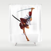 samurai Shower Curtains featuring Samurai by youcoucou