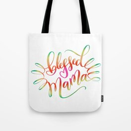 Blessed Mama Colorful Hand Lettering Design Tote Bag
