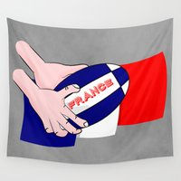 league Wall Tapestries featuring France Rugby Ball Flag by mailboxdisco