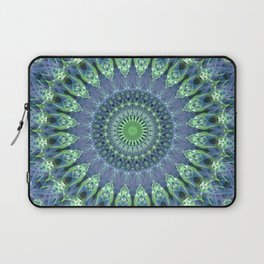 Mandala in light green and blue colors Laptop Sleeve