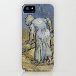 Peasant Woman Bruising Flax (after Millet) iPhone Case