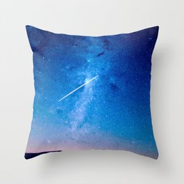 Night Sky Landscape Photography Stars Sky Shooting Star Glowing Milky Way Galaxy Throw Pillow