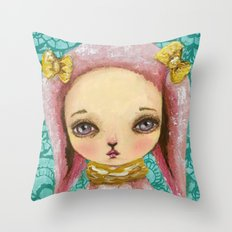 Portrait of a pink bunny Throw Pillow