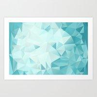 Key West Low-Poly Geometric -Aqua, Turquoise, Sea Foam Art Print