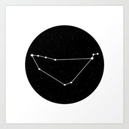 Capricorn Star Sign Night Sky Circle Art Print