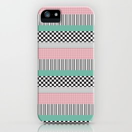 Pink and Teal Striped Pattern iPhone Case
