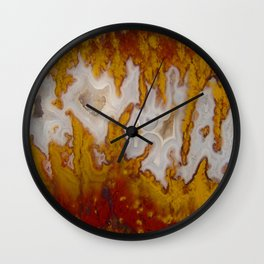 Cady Mountain Yellow Flame Agate Wall Clock