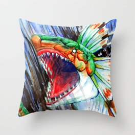 Green Plesioth Rages Throw Pillow
