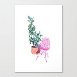 Scandi Design Tropical Interior Canvas Print