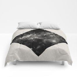 Space Diamond - Abstract, geometric space scene in black and white Comforters