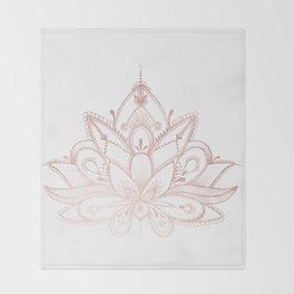 Boho Lotus Rose Gold Throw Blanket