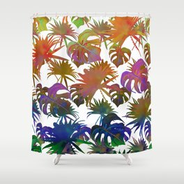 Abstract modern pink teal lavender watercolor tropical leaves Shower Curtain