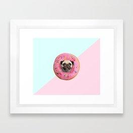 Pug Strawberry Donut Framed Art Print