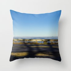 Tree shadow on road Throw Pillow