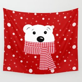 Muzzle of a polar bear on a red background. Wall Tapestry