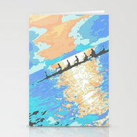 rowing Stationery Cards featuring Rowing at dawn by enpleinair