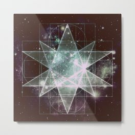 Galaxy Sacred Geometry : Stellated Icoshadron dark Metal Print