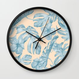 Tropical Leaves Sky Blue on Mango Coral Wall Clock