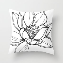 Lotus Flower (a continuous line drawing) Throw Pillow