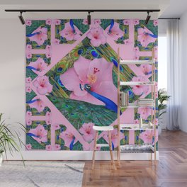 #2 PINK HIBISCUS FLOWERS BLUE-GREEN PEACOCK PATTERNS Wall Mural