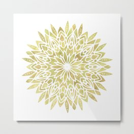 Mandala Yellow Sunflower Metal Print