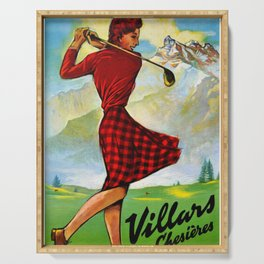 Vintage Villars Switzerland Golf Travel Poster Serving Tray