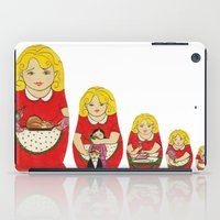50s iPad Cases featuring 50s Housewife Russian Doll by Yana Elkassova