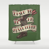 skyrim Shower Curtains featuring Adventurer Like You by Kim Hobby