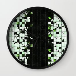 Green Accent Black And White Square Tiled Ceramic Mosaic Pattern Wall Clock