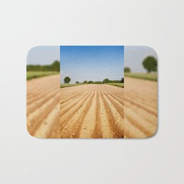 Ploughed agriculture field empty Bath Mat