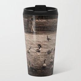 Migrating Canadian geese Metal Travel Mug