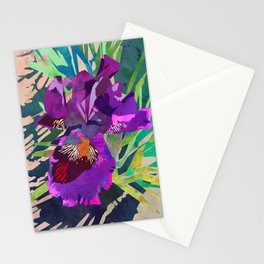 Watercolor Iris Flower with Shadows - Bright Purple & Pink Stationery Cards