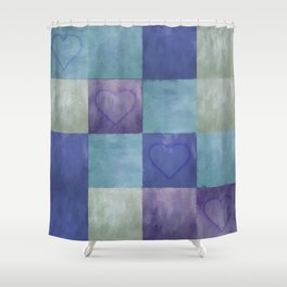 Blue Tiles with Hearts Shower Curtain