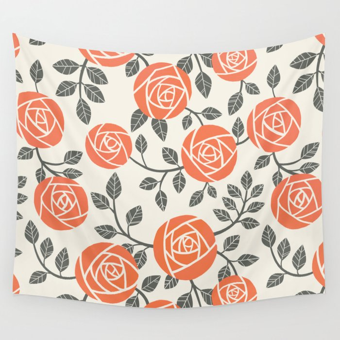 Retro roses Wall Tapestry