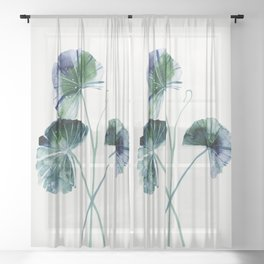 Water lily leaves Sheer Curtain