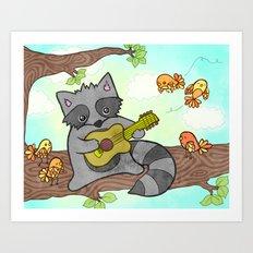 Serenading Raccoon Art Print