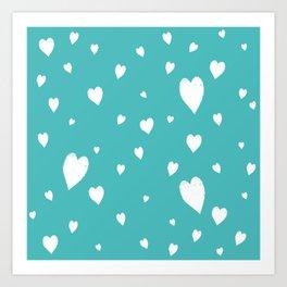 Hand-Drawn Hearts (White & Teal Pattern) Art Print