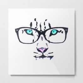 Hipster Tiger Metal Print