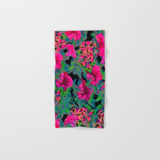 vivid pink petunia on black background Hand & Bath Towel