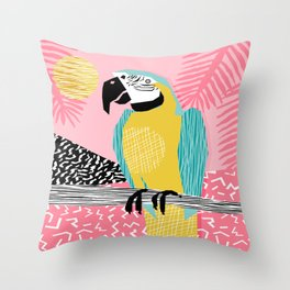 Holy Moly - memphis throwback retro neon bird macaw tropical island pop art bird watching 1980s Throw Pillow