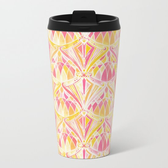 Art Deco Pattern in Pink and Orange Metal Travel Mug
